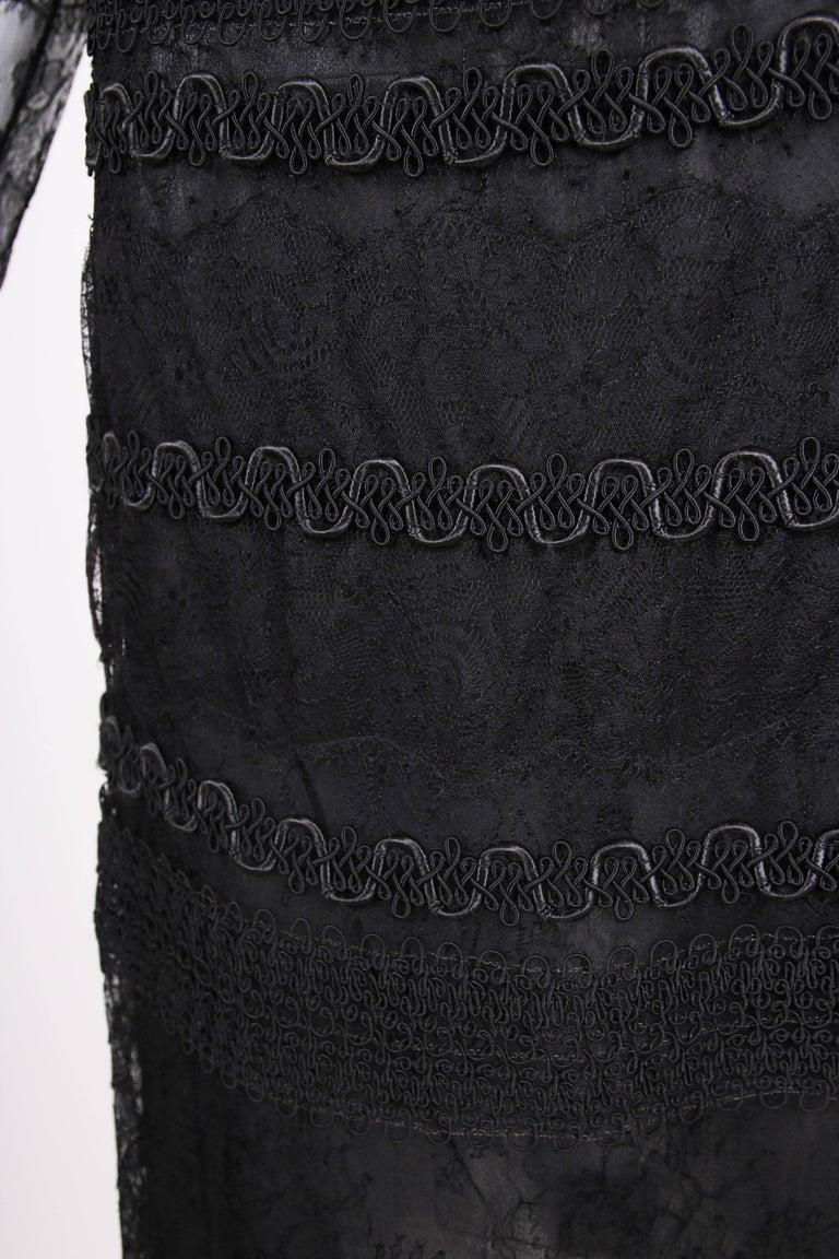 Vintage Guy Laroche Couture Black Lace Illusion Cocktail Dress For Sale 2