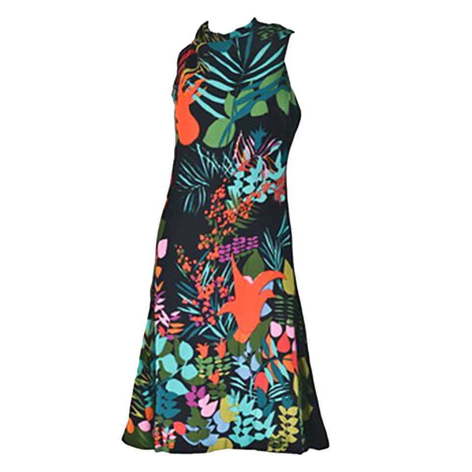 Pauline Trigere Sleeveless Floral Cocktail Day Dress ca. late 1970s/early 1980s For Sale
