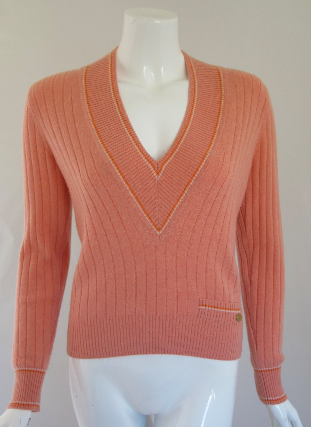 2001 Chanel 100% Cashmere Ribbed Tennis Sweater at 1stdibs