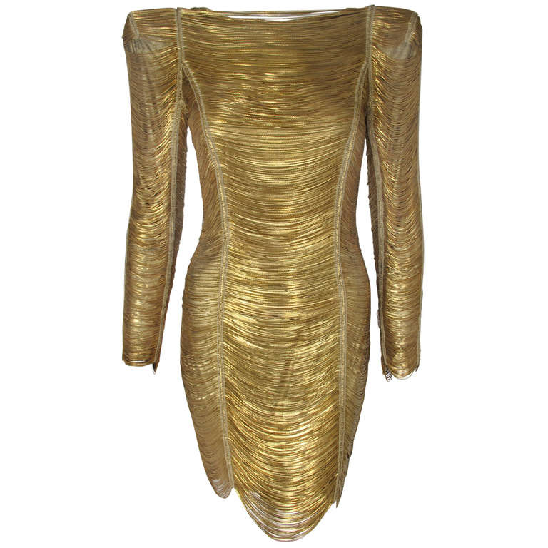 2010 Iconic Balmain Gold Chain Dress at 1stdibs