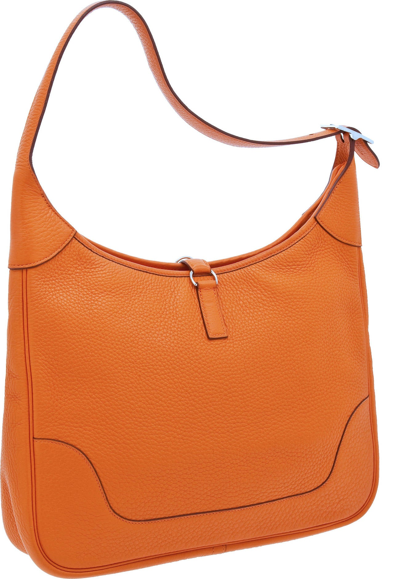 2002 Hermes 35cm Orange H Clemence Leather Trim Bag w/Palladium ...
