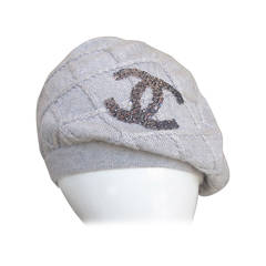 Chanel 100% Cashmere Beret Hat w/Chanel CC Sequined Logo