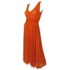 Jean Paul Gaultier Orange Sheer Dress w/Deep V-Neckline & Ruched Waistline