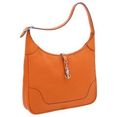2002 Hermes 35cm Orange H Clemence Leather Trim Bag w/Palladium Hardware