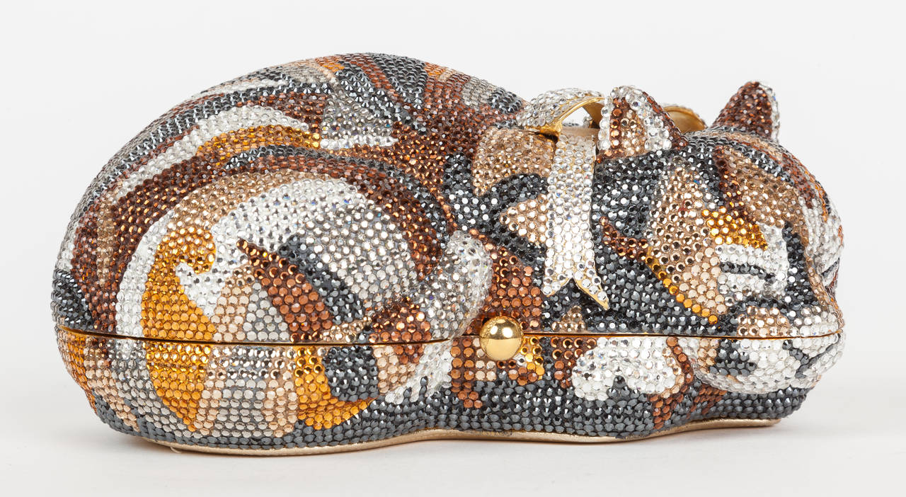Iconic Judith Leiber Sleeping Cat Jeweled Crystal Minaudière Clutch Bag 3