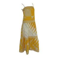 1970's Vintage Pucci Cotton Sundress Maxi Dress w/Geometric Print