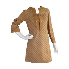 1970s Gucci Monogrammed Logo Tunic Dress w/Leather Trim