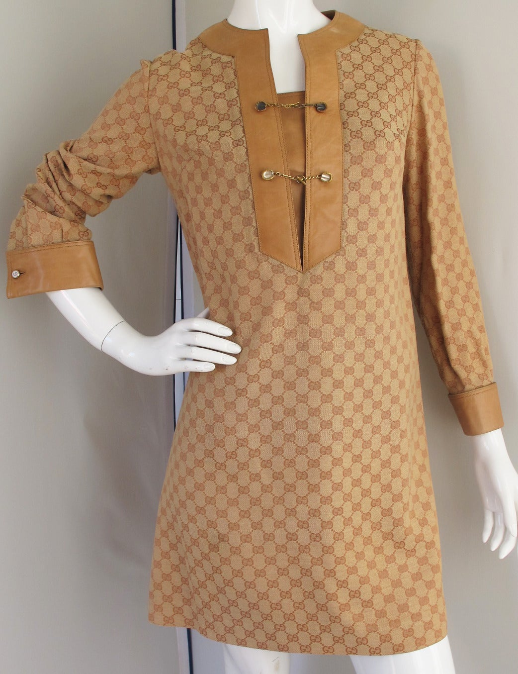 1970s Gucci Monogrammed Logo Tunic Dress w/Leather Trim 2