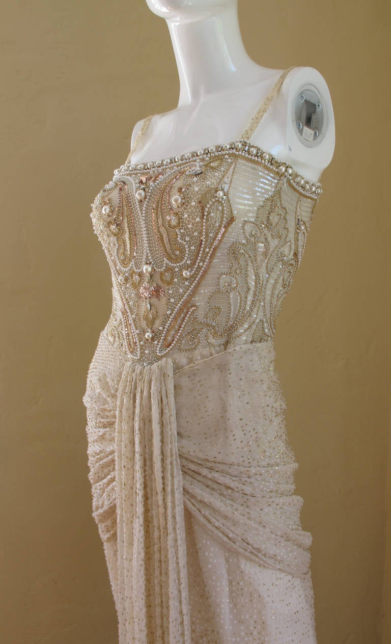 Givenchy haute couture silk evening gown w beading and