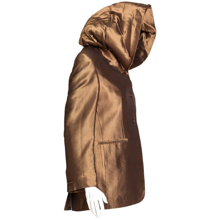 Iconic Romeo Gigli Hooded Bronze Jacket circa 1989