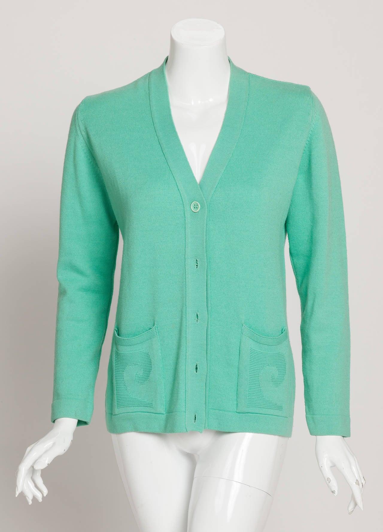 Vintage Pierre Cardin Aqua Green Cardigan w/Logo at Pockets 2