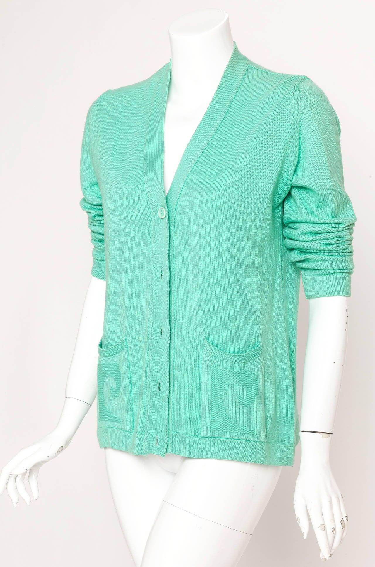Vintage Pierre Cardin Aqua Green Cardigan w/Logo at Pockets 3