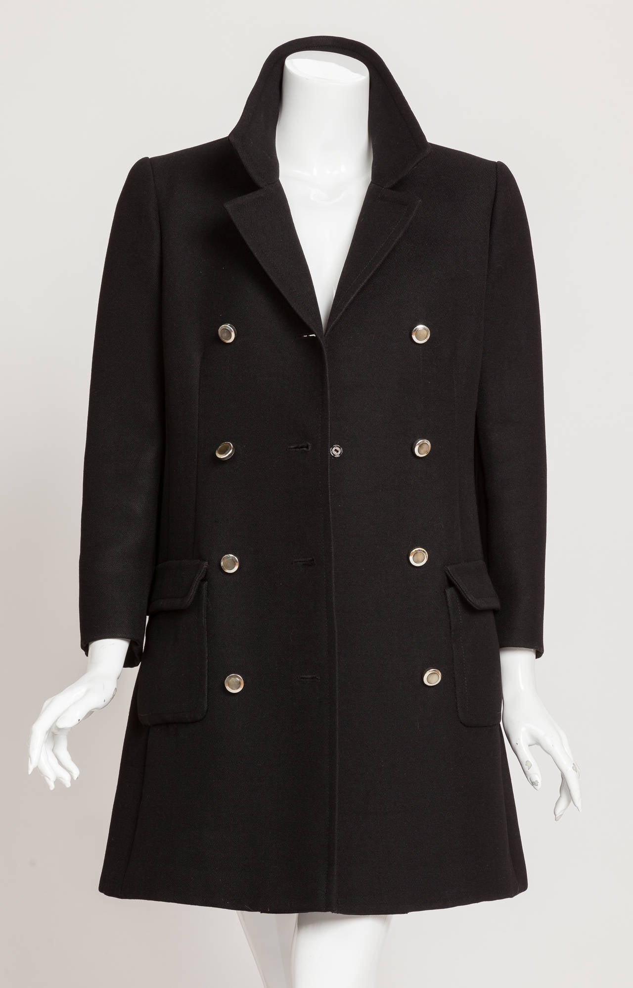 1960s Pierre Cardin Double-Breasted Black Wool Twill 3/4 Length Coat Jacket 2