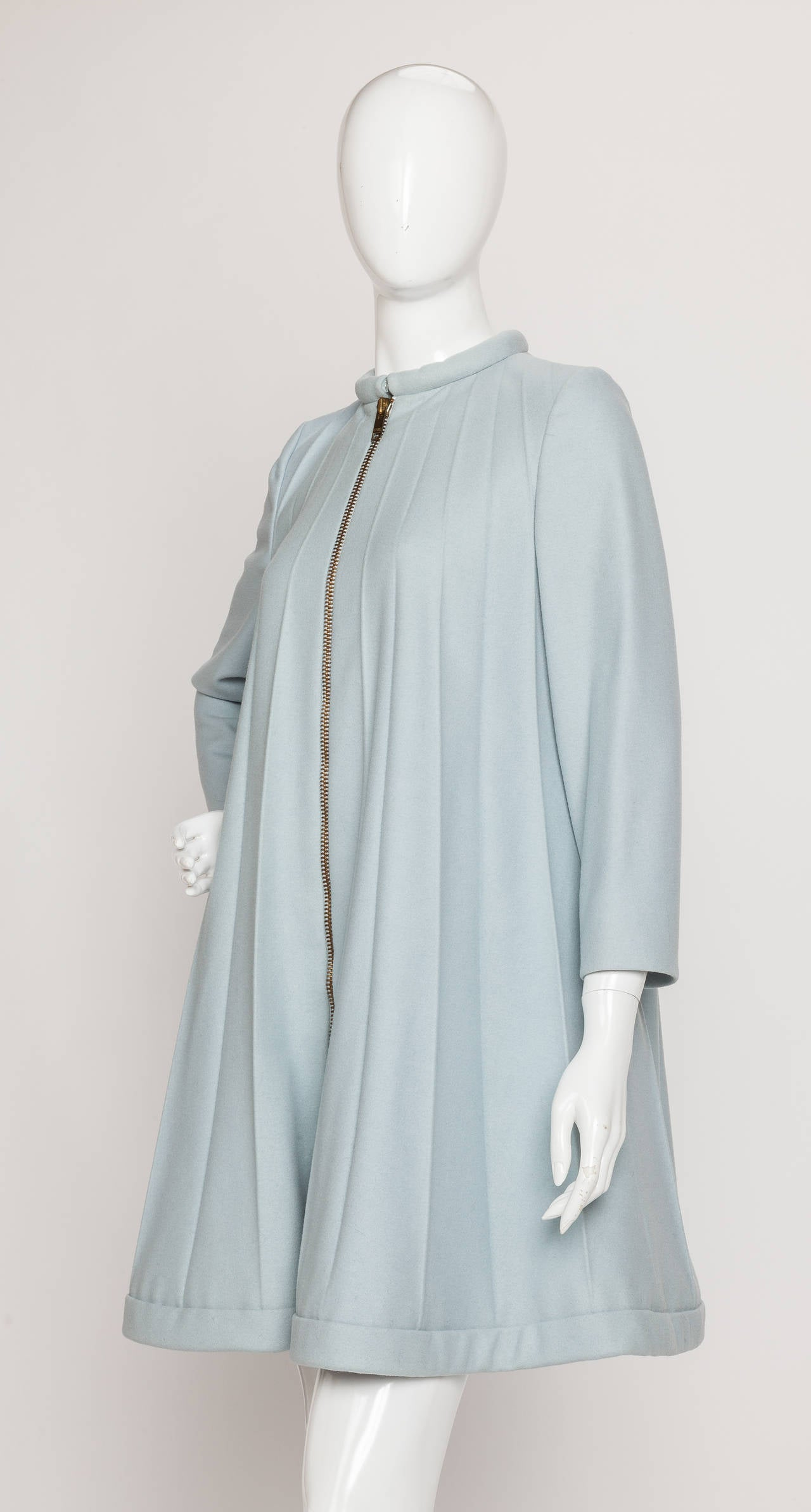 A 1967 rare Pierre Cardin pale blue melton wool coat dress with graduated accordion pleats from collar to hem. This spectacular statement piece is for the serious collector - Cardin made a similar model for Mia Farrow which she can be seen wearing