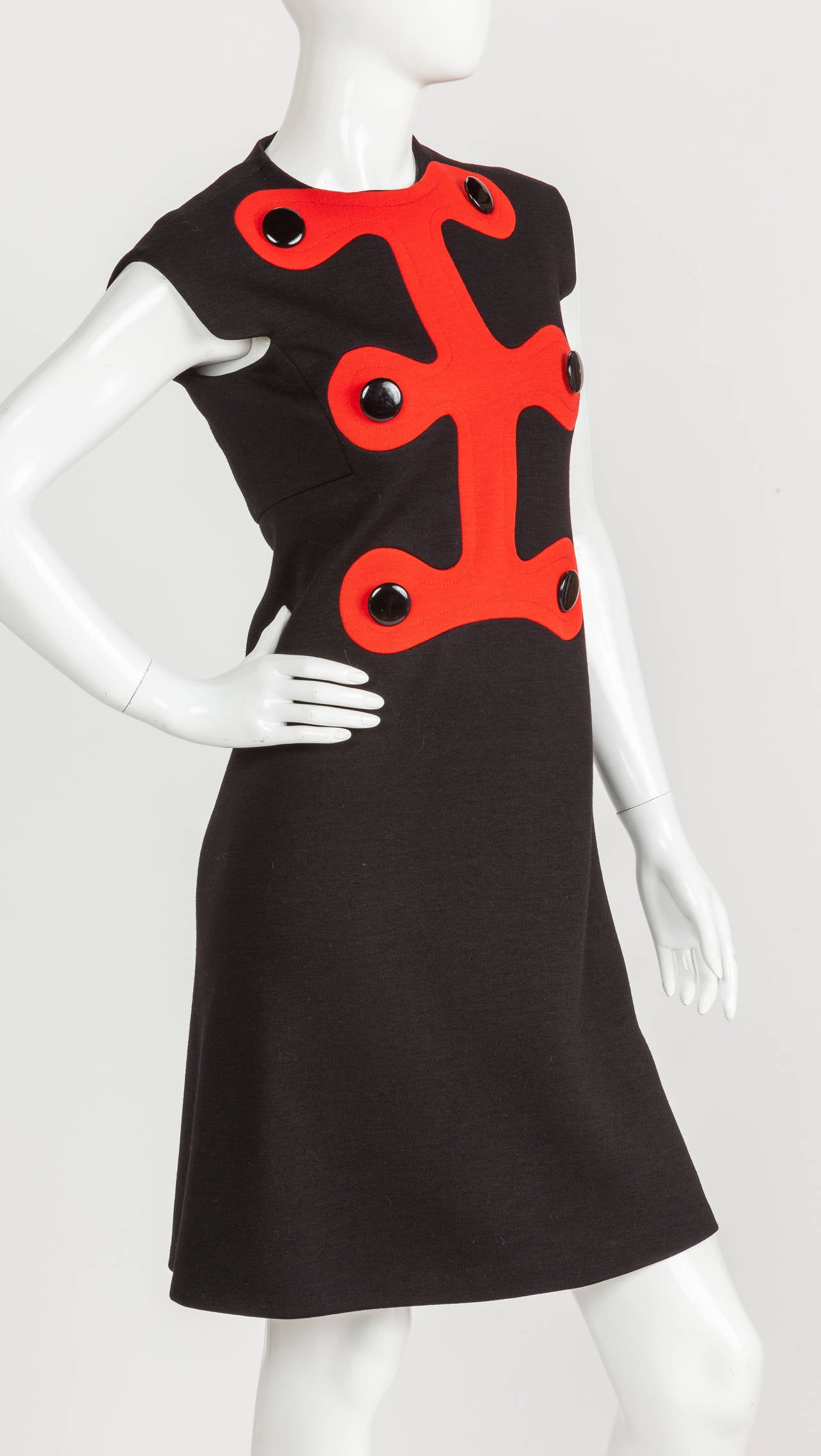Black Iconic Pierre Cardin Space Age Mod Day Dress w/Abstract Design Motif Ca. 1972 For Sale