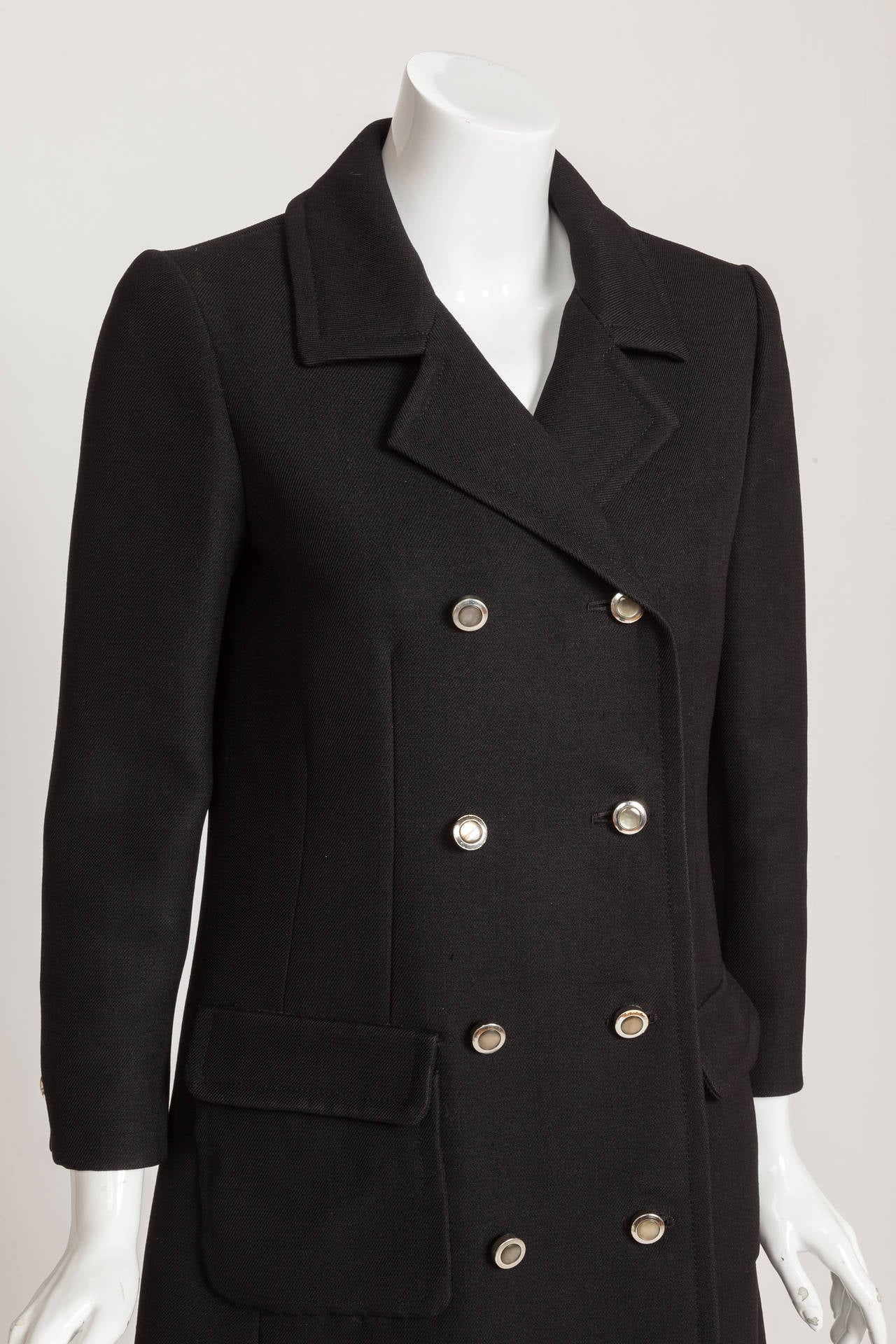 1960s Pierre Cardin Double-Breasted Black Wool Twill 3/4 Length Coat Jacket 3