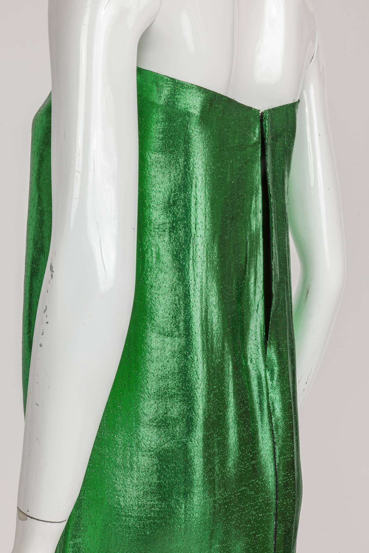 1970s Pierre Cardin Haute Couture Green Lame Tube Dress w/Keyhole Slit at Back 2