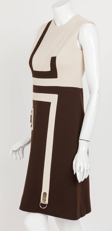 Black 1970s Pierre Cardin Mod Graphic Jersey Wool Day Dress For Sale