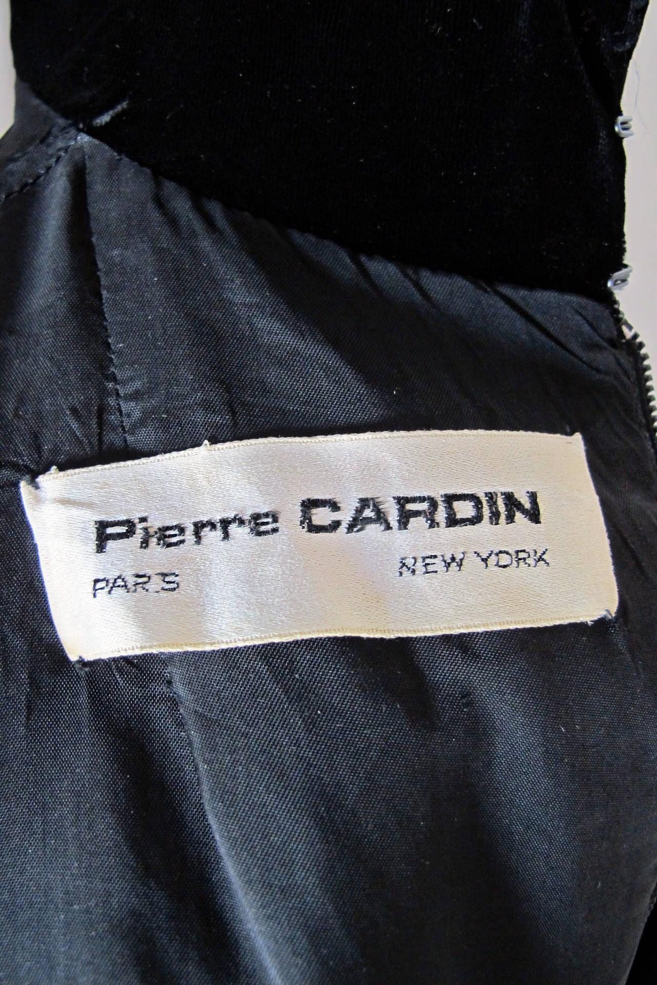 911cf9bff4f Women s 1970s Pierre Cardin Black Velvet Space Age Evening Cocktail Tunic  Dress For Sale