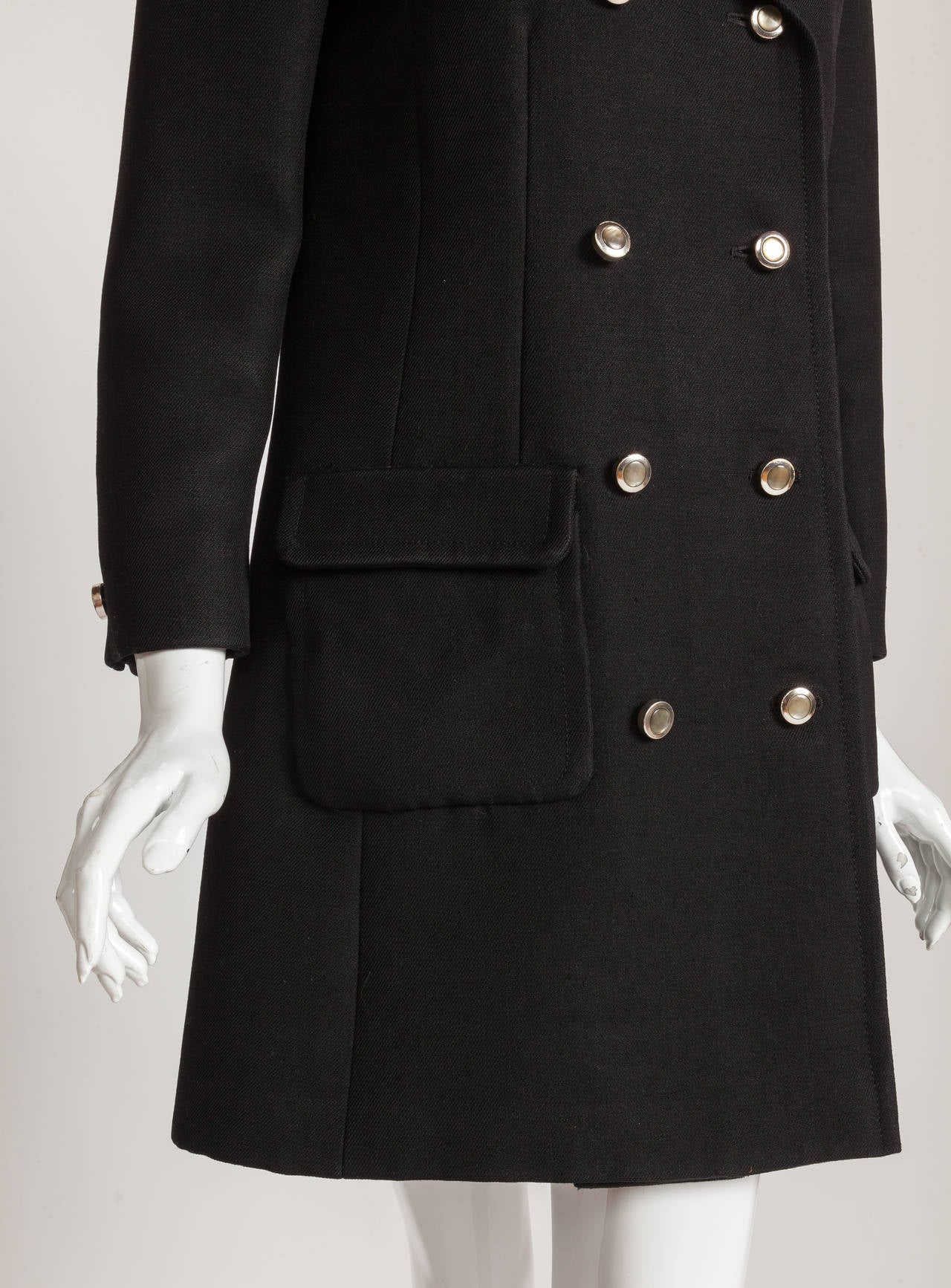 1960s Pierre Cardin Double-Breasted Black Wool Twill 3/4 Length Coat Jacket 4
