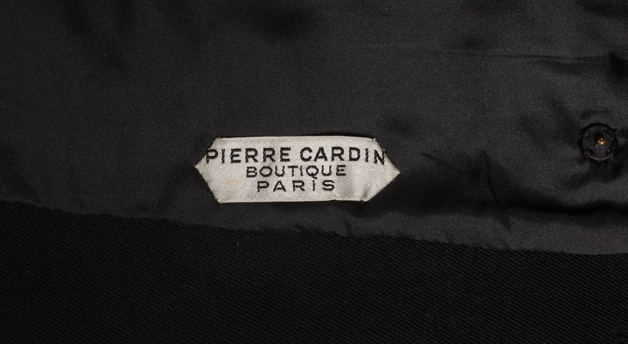 1960s Pierre Cardin Double-Breasted Black Wool Twill 3/4 Length Coat Jacket 5