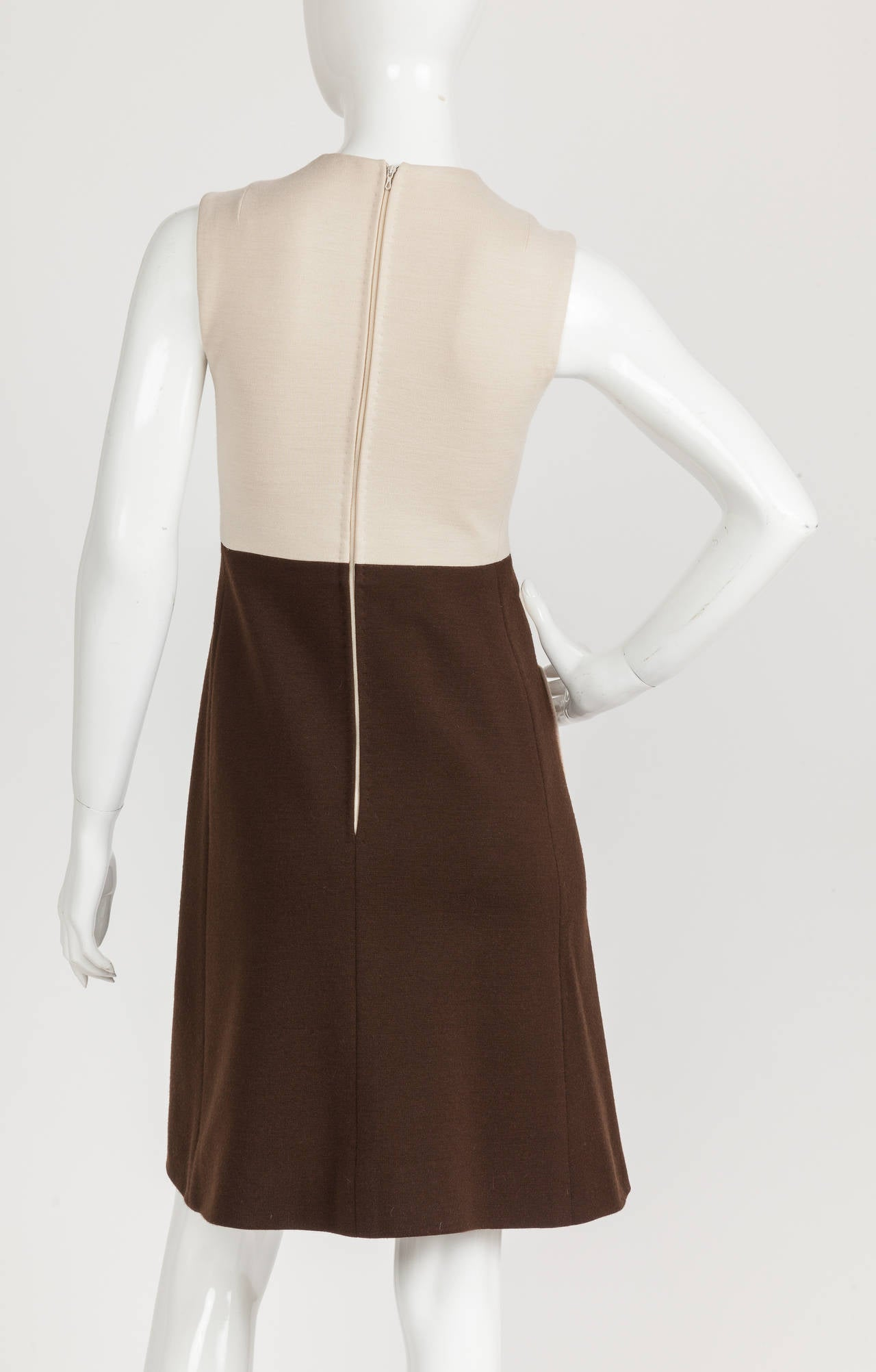 1970s Pierre Cardin Mod Graphic Jersey Wool Day Dress For Sale 1
