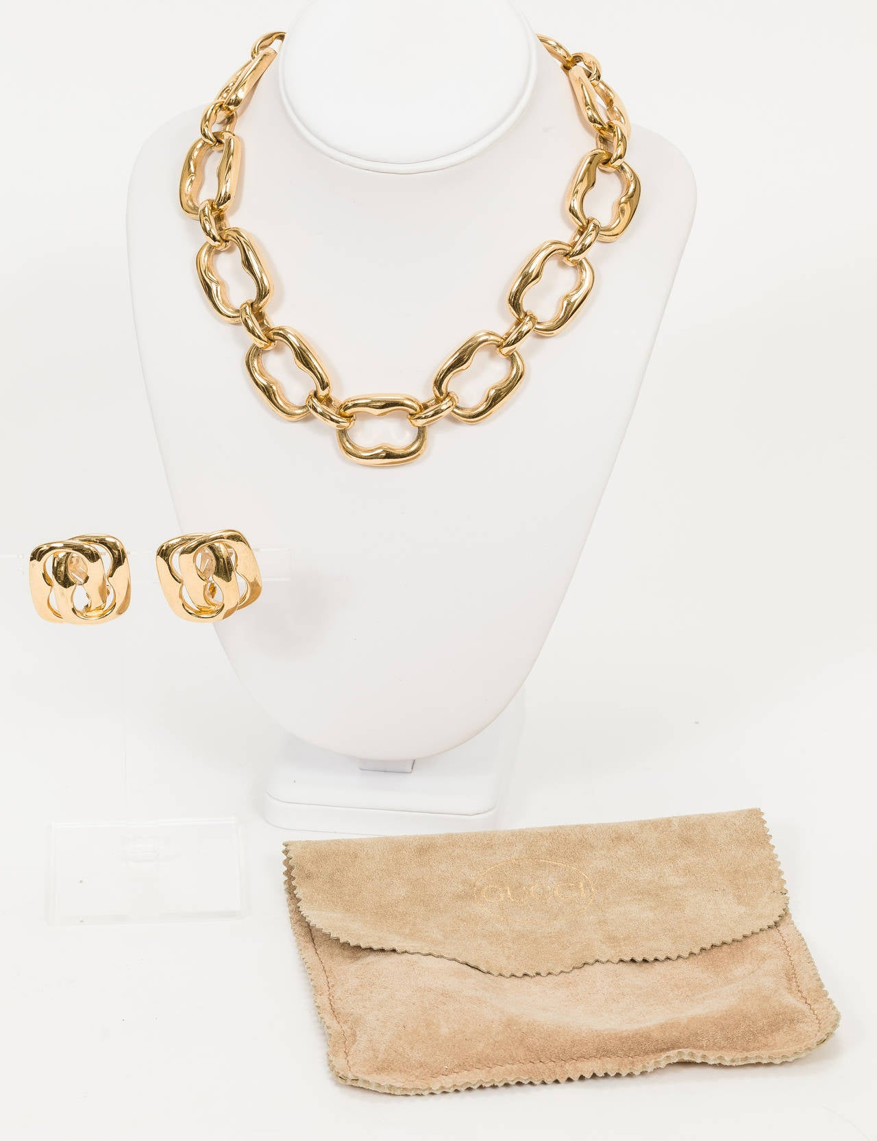1980s Gucci Oversize Link Necklace And Earrings Set W