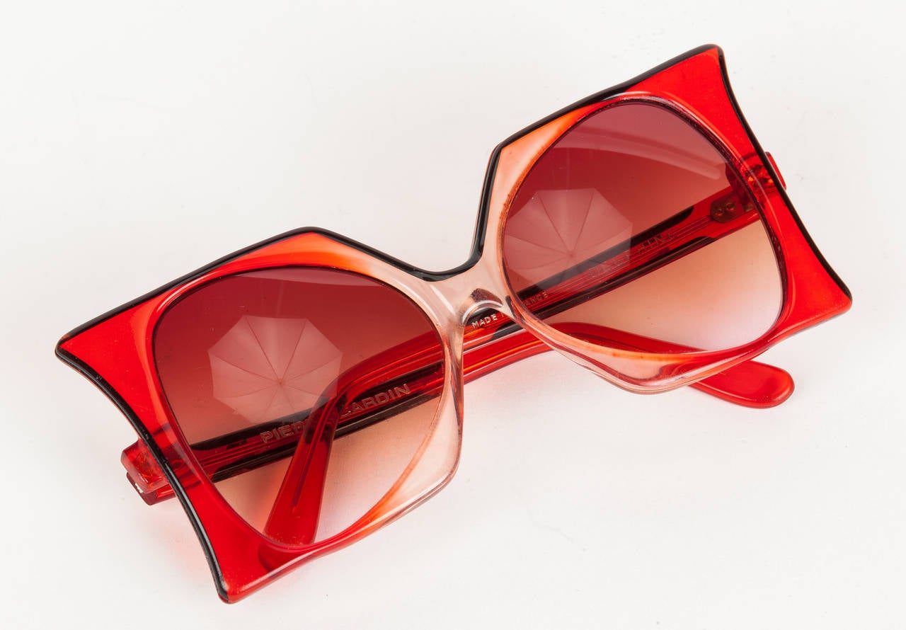 "1960's Iconic Pierre Cardin Oversize Red ""Delphine"" Sunglasses 2"