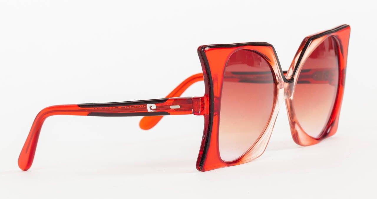 "1960's Iconic Pierre Cardin Oversize Red ""Delphine"" Sunglasses 3"