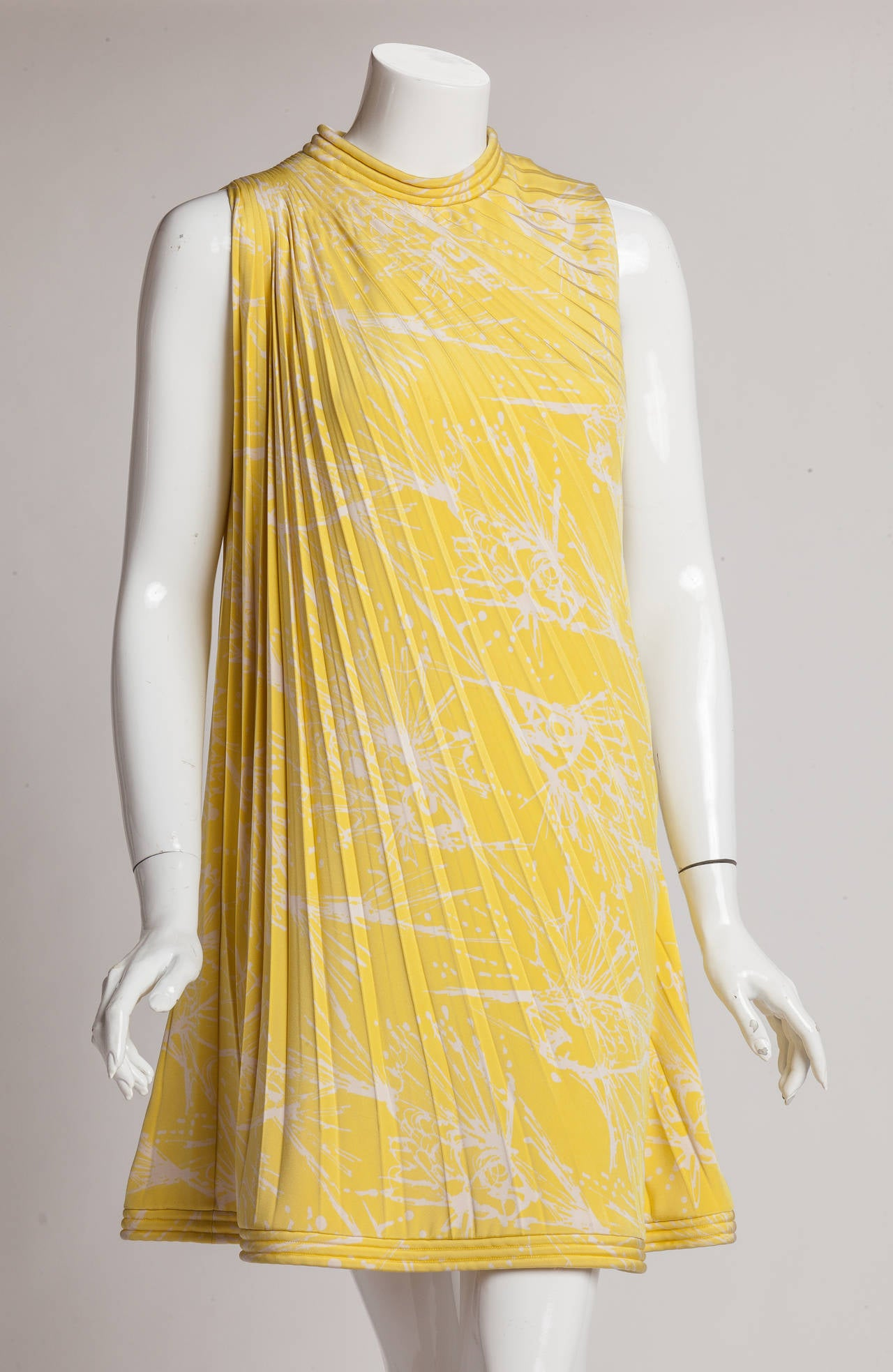 Pierre cardin haute couture pleated silk abstract print for To have and to haute dress