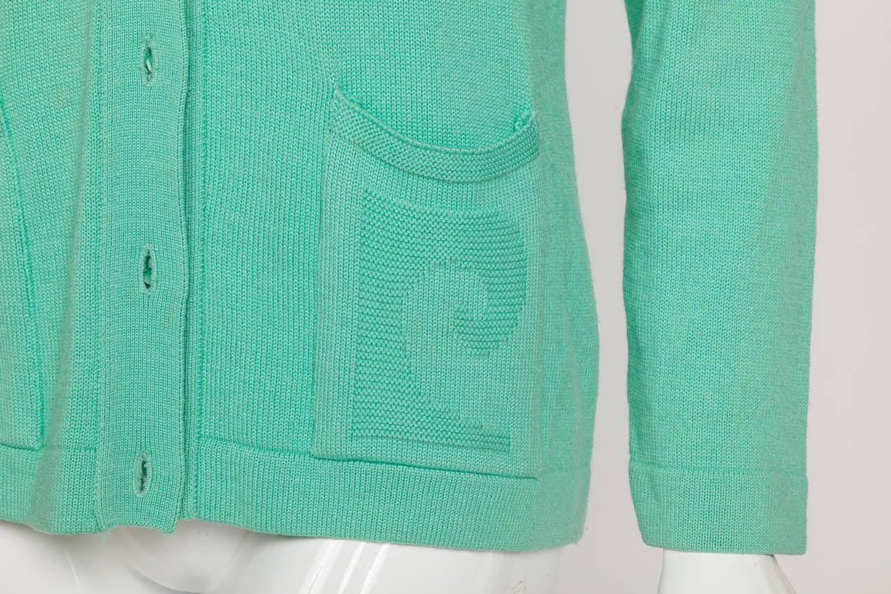 Vintage Pierre Cardin Aqua Green Cardigan w/Logo at Pockets 4