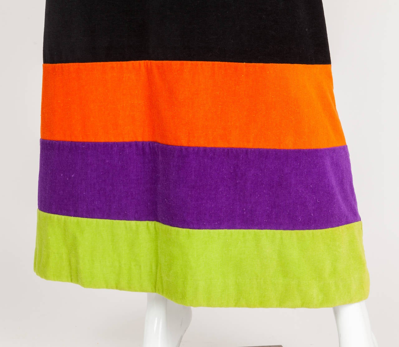 1970s Pierre Cardin Terry Cloth Maxi Dress w/Multicolored Stripes at Hem 5