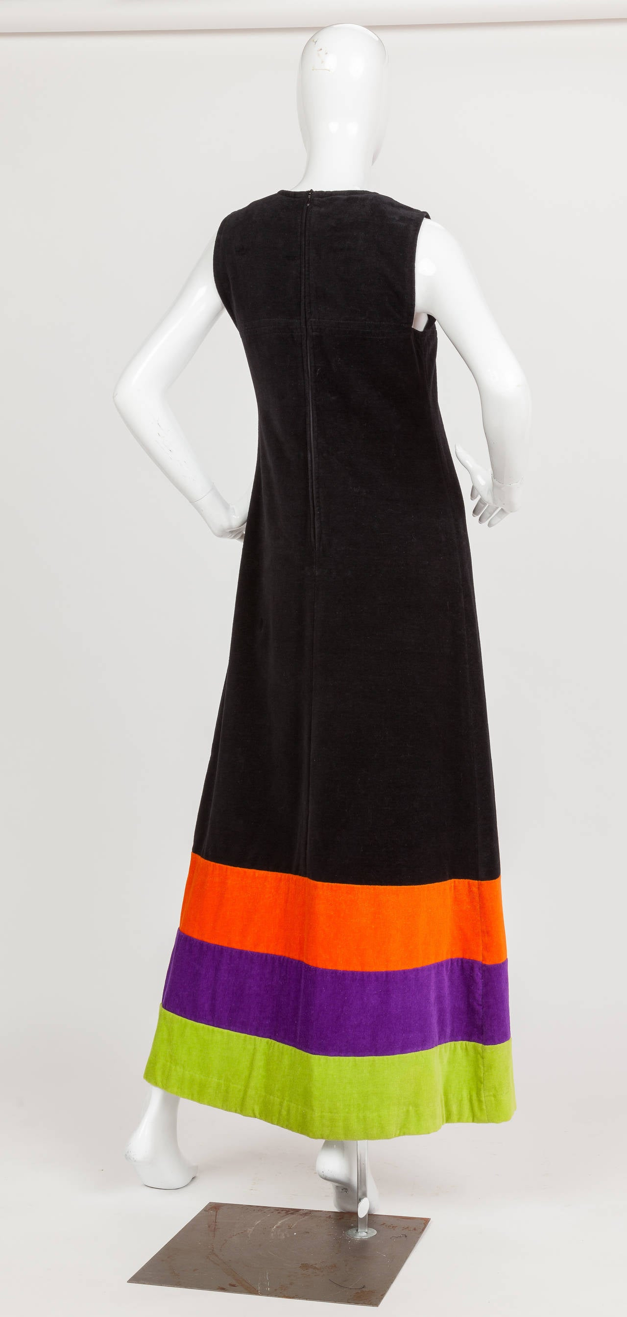 1970s Pierre Cardin Terry Cloth Maxi Dress w/Multicolored Stripes at Hem 6