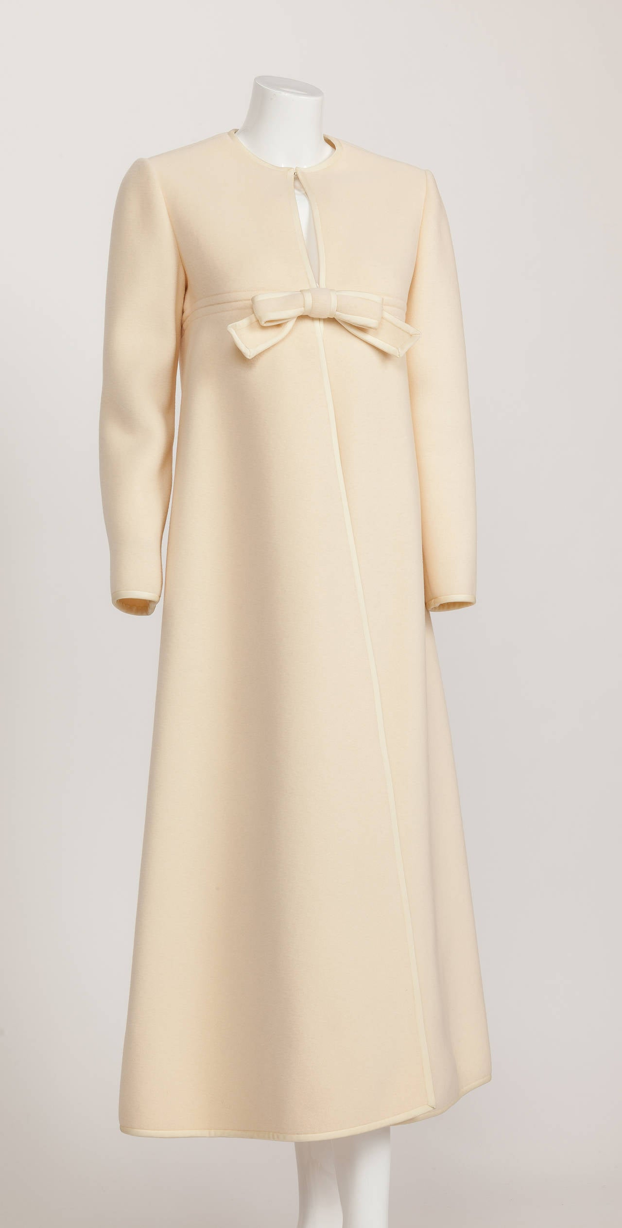 1960s Pierre Cardin A-Line Creme Melton Wool Coat w/Bow and Silky Trim 2
