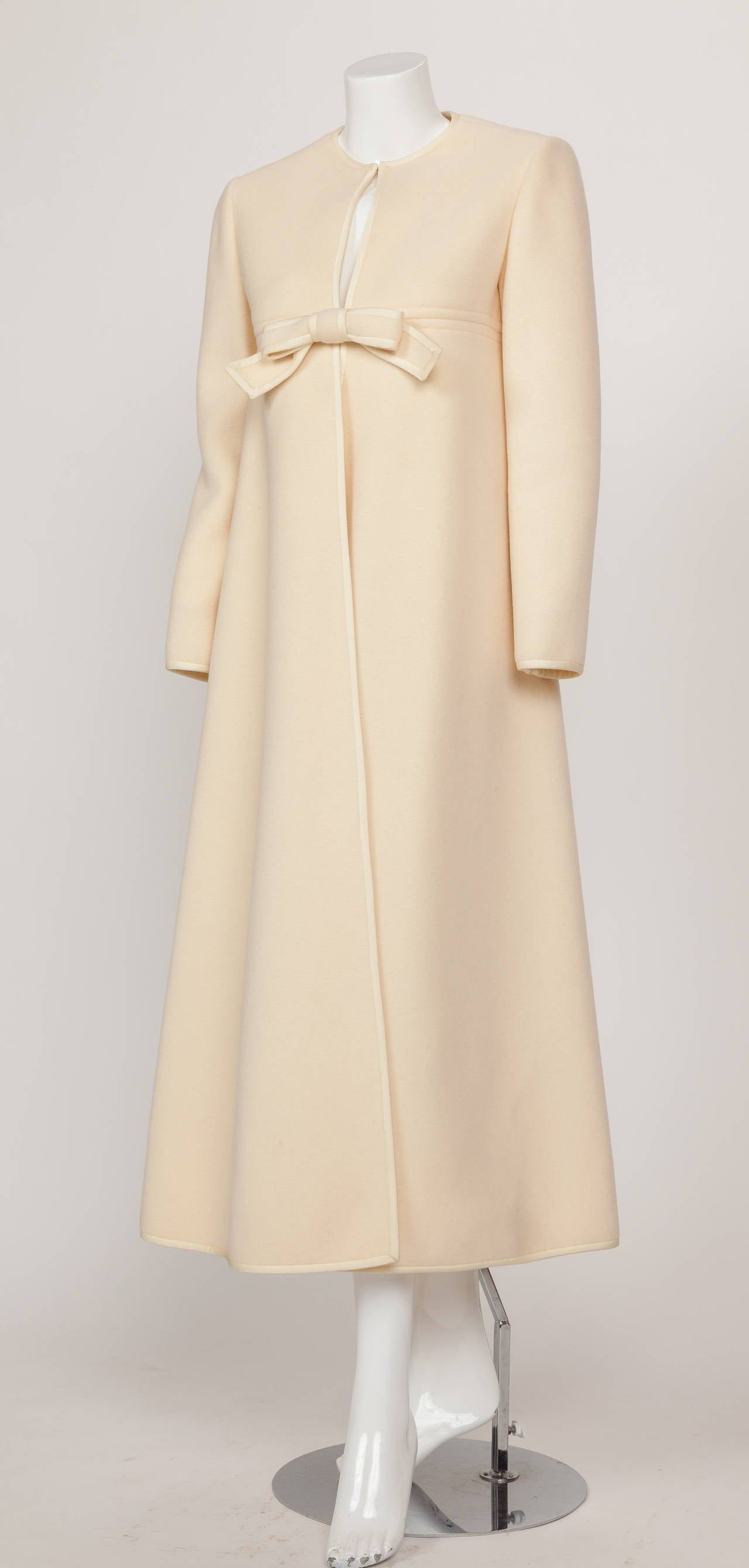 1960s Pierre Cardin A-Line Creme Melton Wool Coat w/Bow and Silky Trim 3