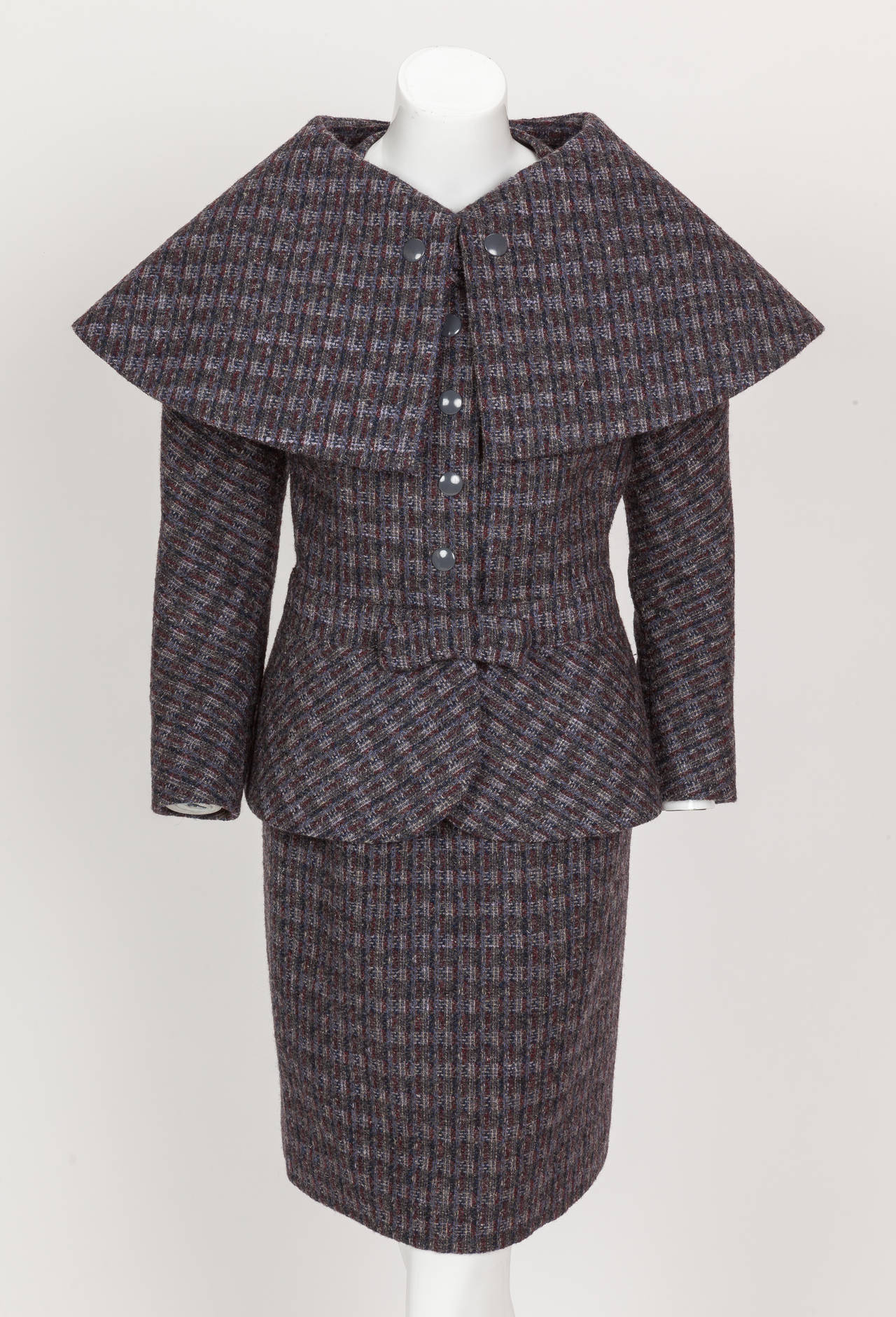 Pierre Cardin Tweed Jacket and Skirt Ensemble Suit w/Detachable collar ca. 1982 2