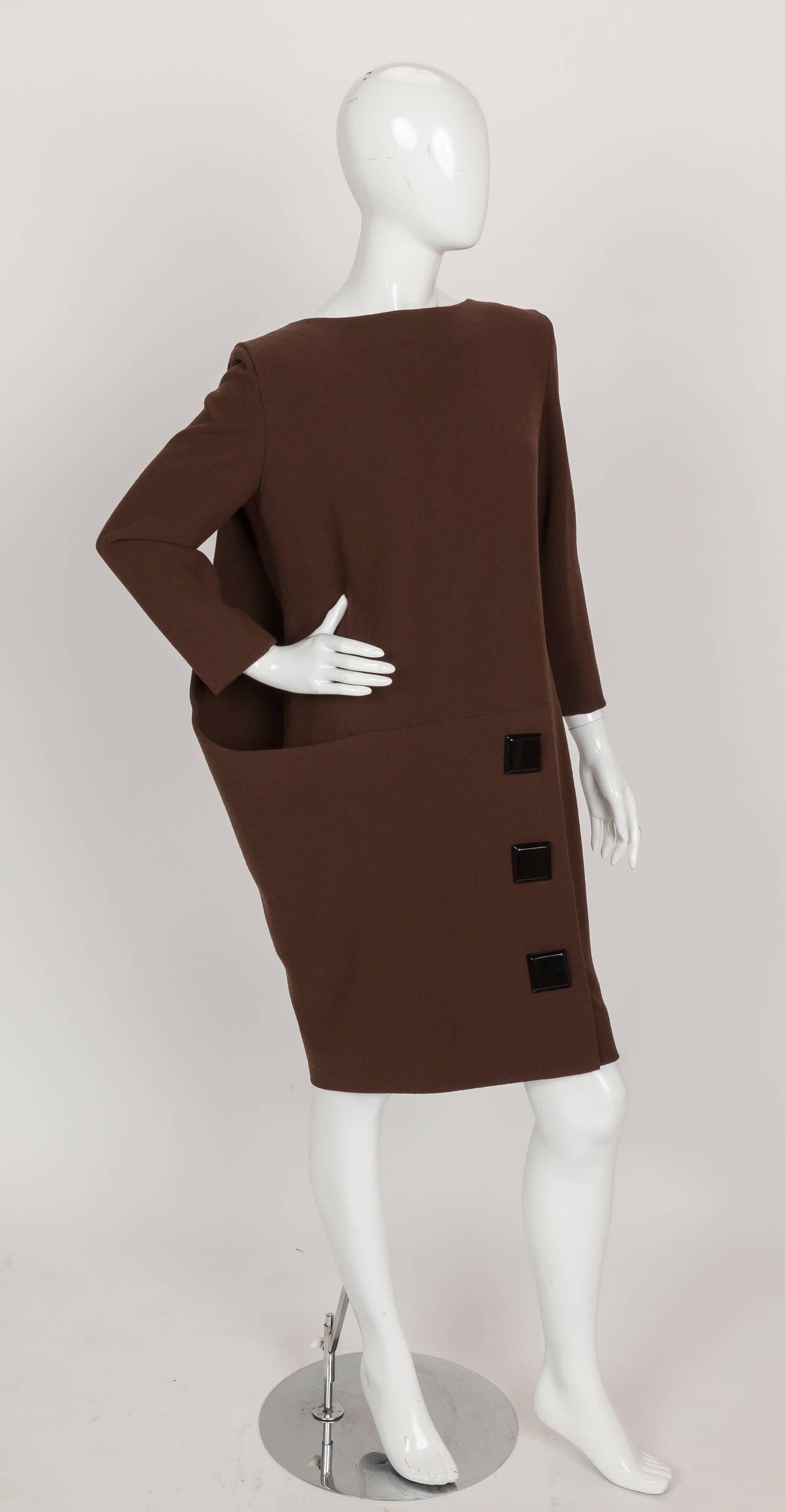 Black Avant Garde Pierre Cardin Haute Couture Asymmetric Wool Cocktail Dress ca. 1992 For Sale
