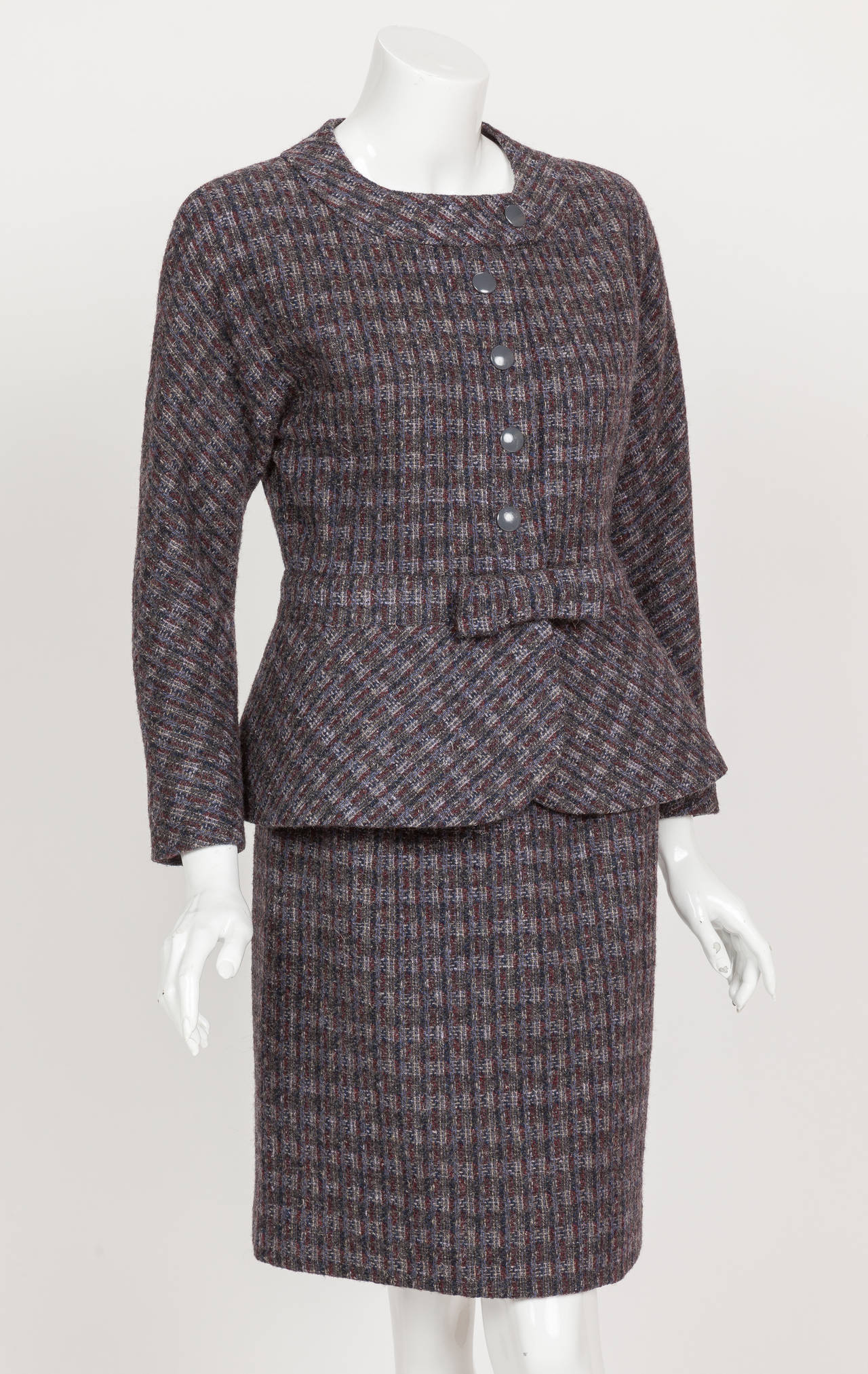 Pierre Cardin Tweed Jacket and Skirt Ensemble Suit w/Detachable collar ca. 1982 3