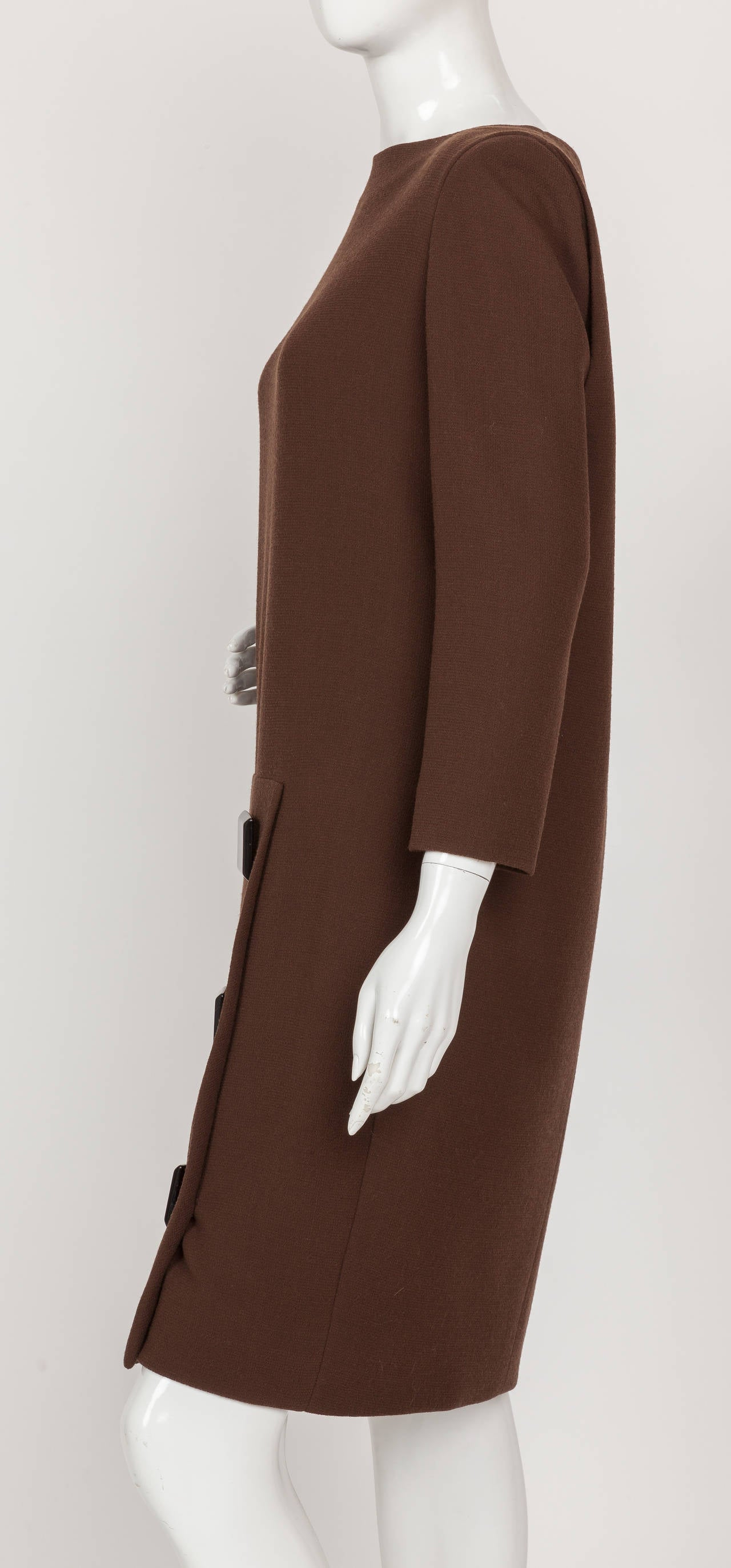 Women's Avant Garde Pierre Cardin Haute Couture Asymmetric Wool Cocktail Dress ca. 1992 For Sale