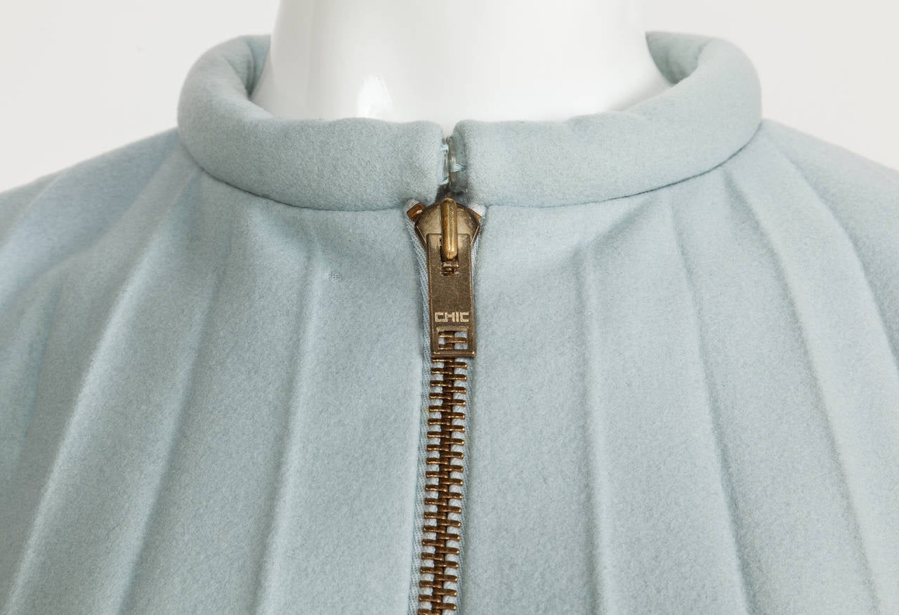 Women's 1967 Rare Iconic Pierre Cardin Wool Trapeze Accordian Pleat Coat Dress For Sale