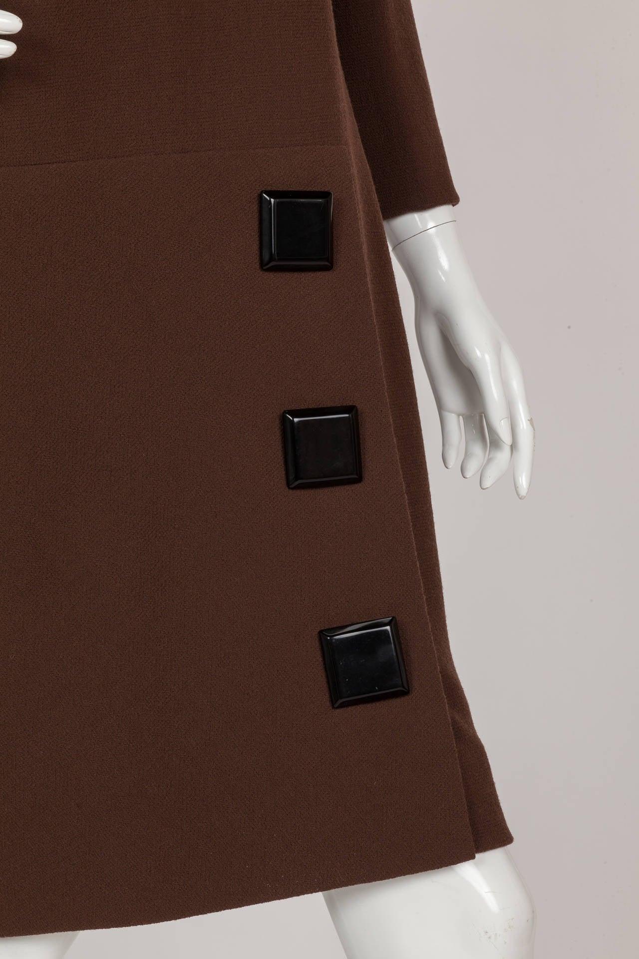 Avant Garde Pierre Cardin Haute Couture Asymmetric Wool Cocktail Dress ca. 1992 For Sale 1