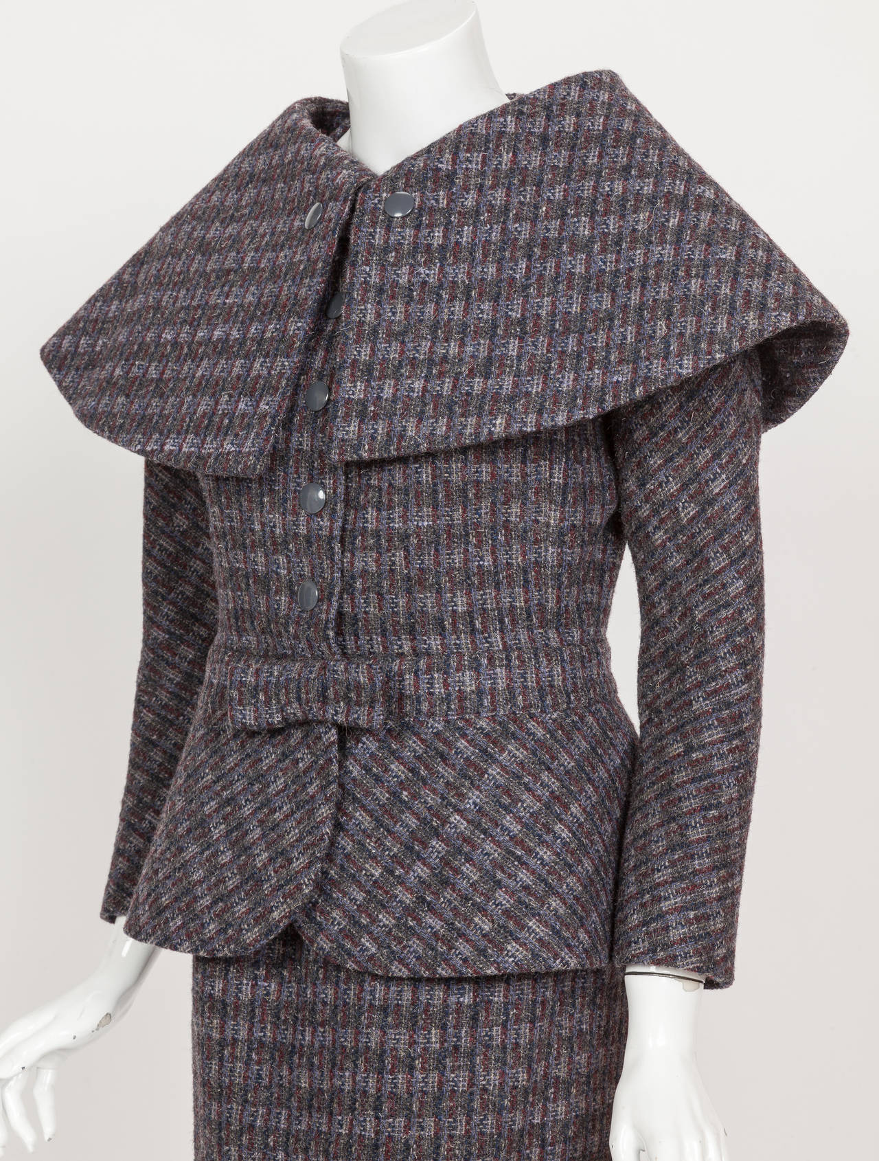 Pierre Cardin Tweed Jacket and Skirt Ensemble Suit w/Detachable collar ca. 1982 4