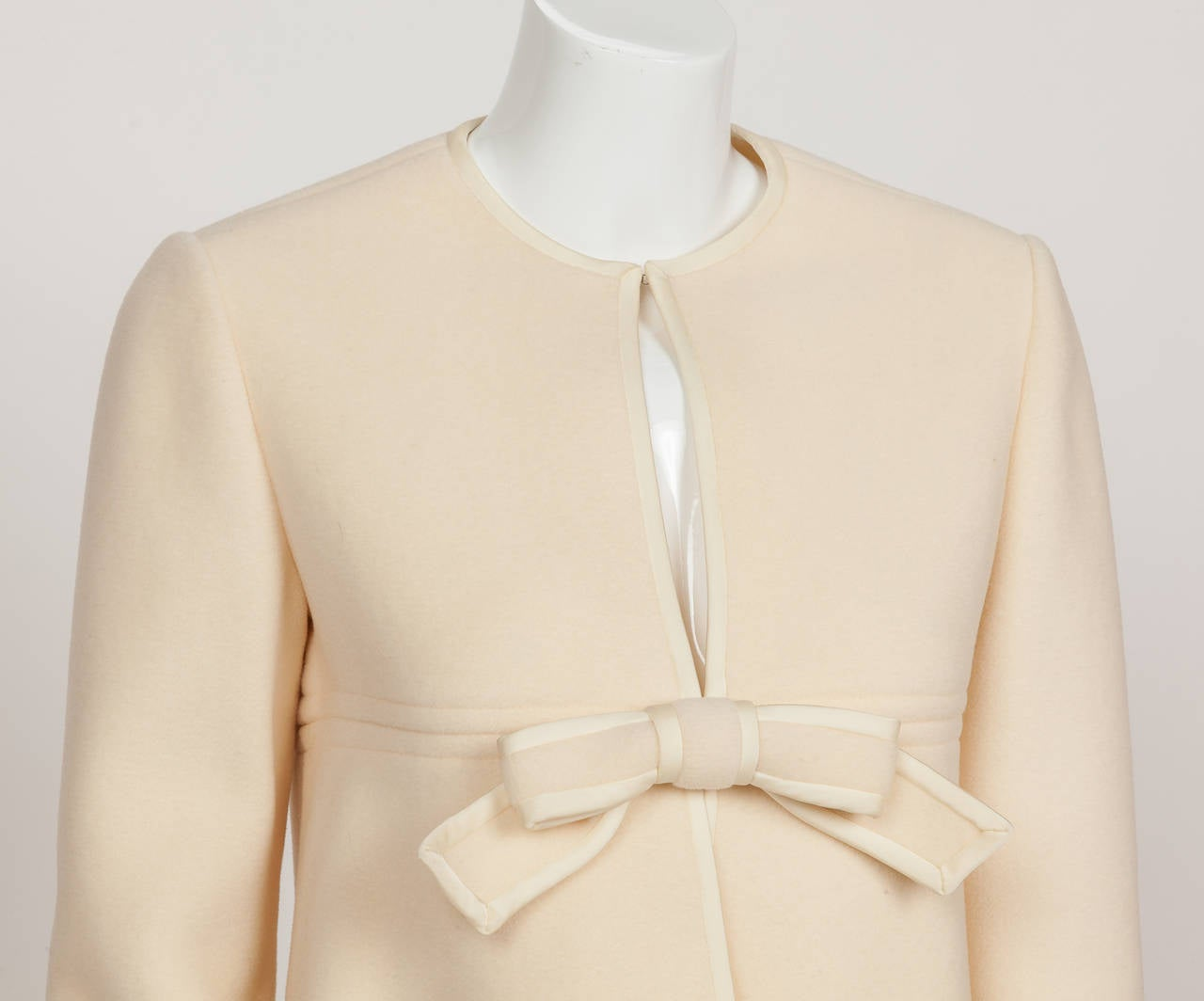 1960s Pierre Cardin A-Line Creme Melton Wool Coat w/Bow and Silky Trim 6