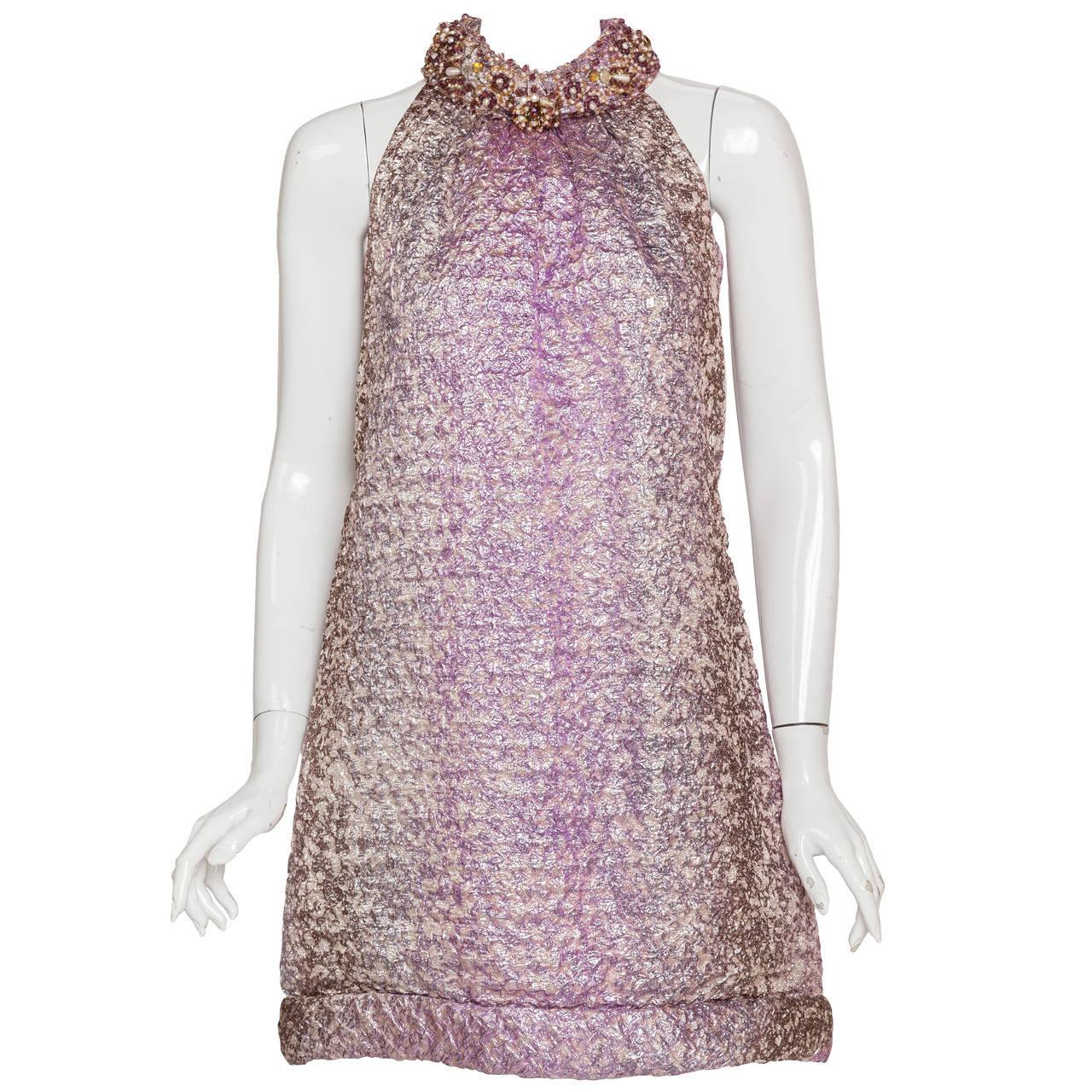 Pierre Cardin Haute Couture Lame Cocktail Dress w/Beading ...