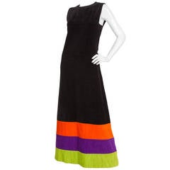 1970s Pierre Cardin Terry Cloth Maxi Dress w/Multicolored Stripes at Hem