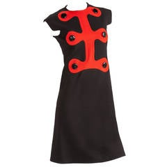 Iconic Pierre Cardin Space Age Mod Day Dress w/Abstract Design Motif Ca. 1972