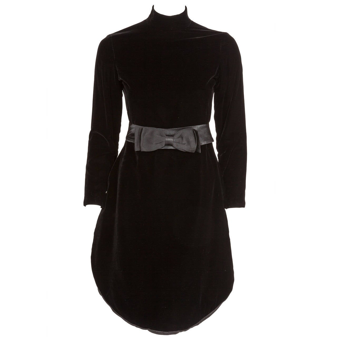 1970s Pierre Cardin Black Velvet Space Age Evening Cocktail Tunic Dress