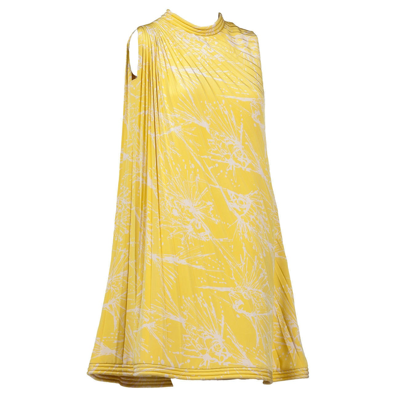 Pierre Cardin Haute Couture Pleated Silk Abstract Print Mini Dress c.1968 For Sale