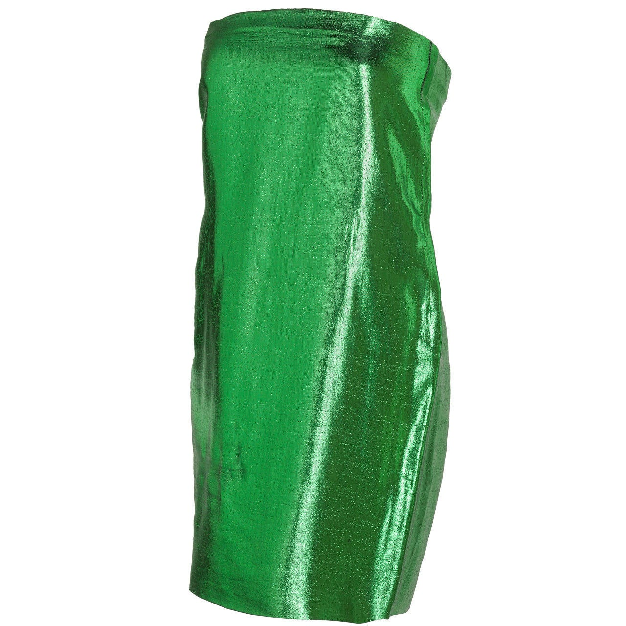 1970s Pierre Cardin Haute Couture Green Lame Tube Dress w/Keyhole Slit at Back 1