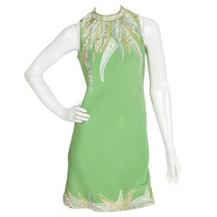 Pierre Cardin Haute Couture Green Silk Crepe Sequined Cocktail Dress ca. 1967